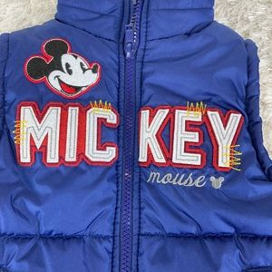 Mickey Mouse Puffer Vest Blue Red Appliqué 24 Mo